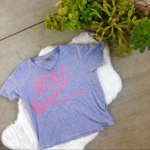 Nike Sportswear Grey and Pink Crop Top